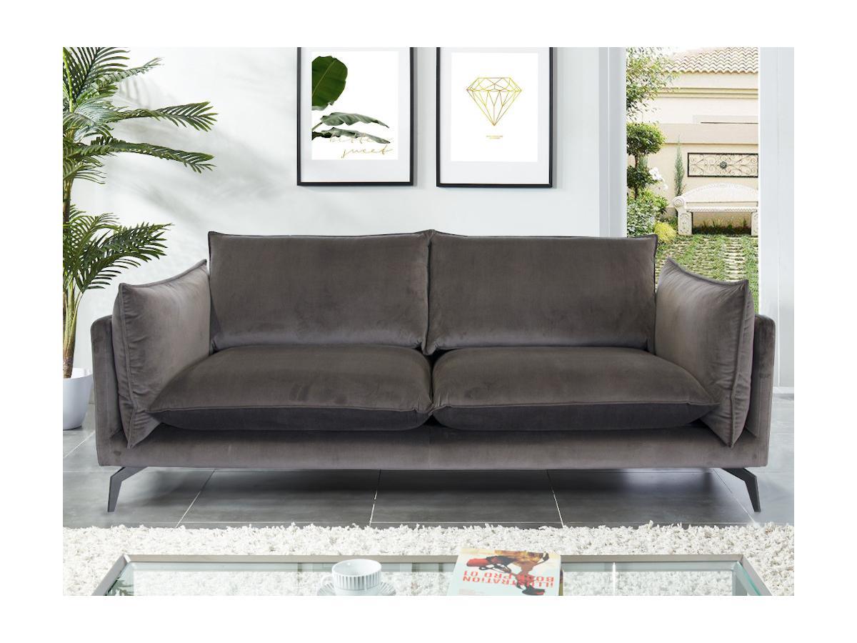 3-Sitzer-Sofa KESTREL - Samt - Grau