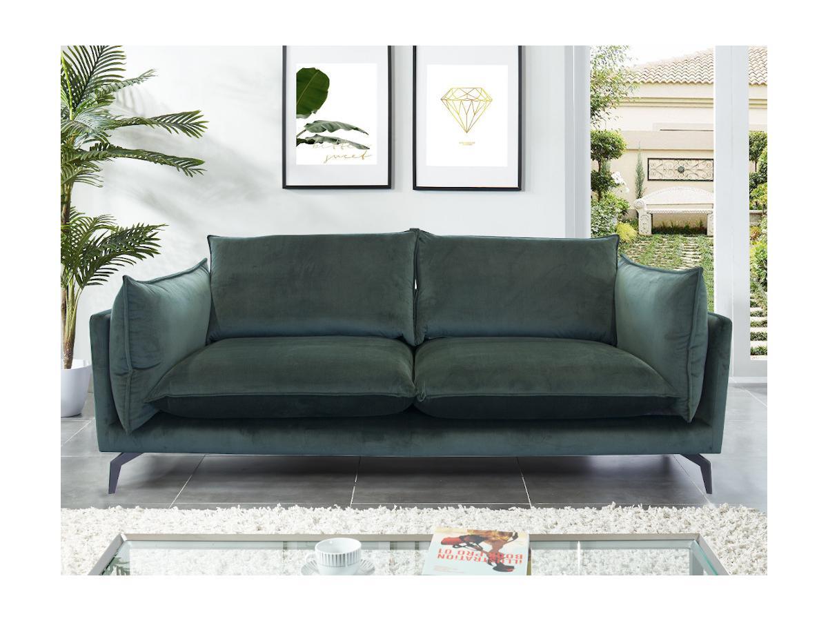 3-Sitzer-Sofa KESTREL - Samt - Grün