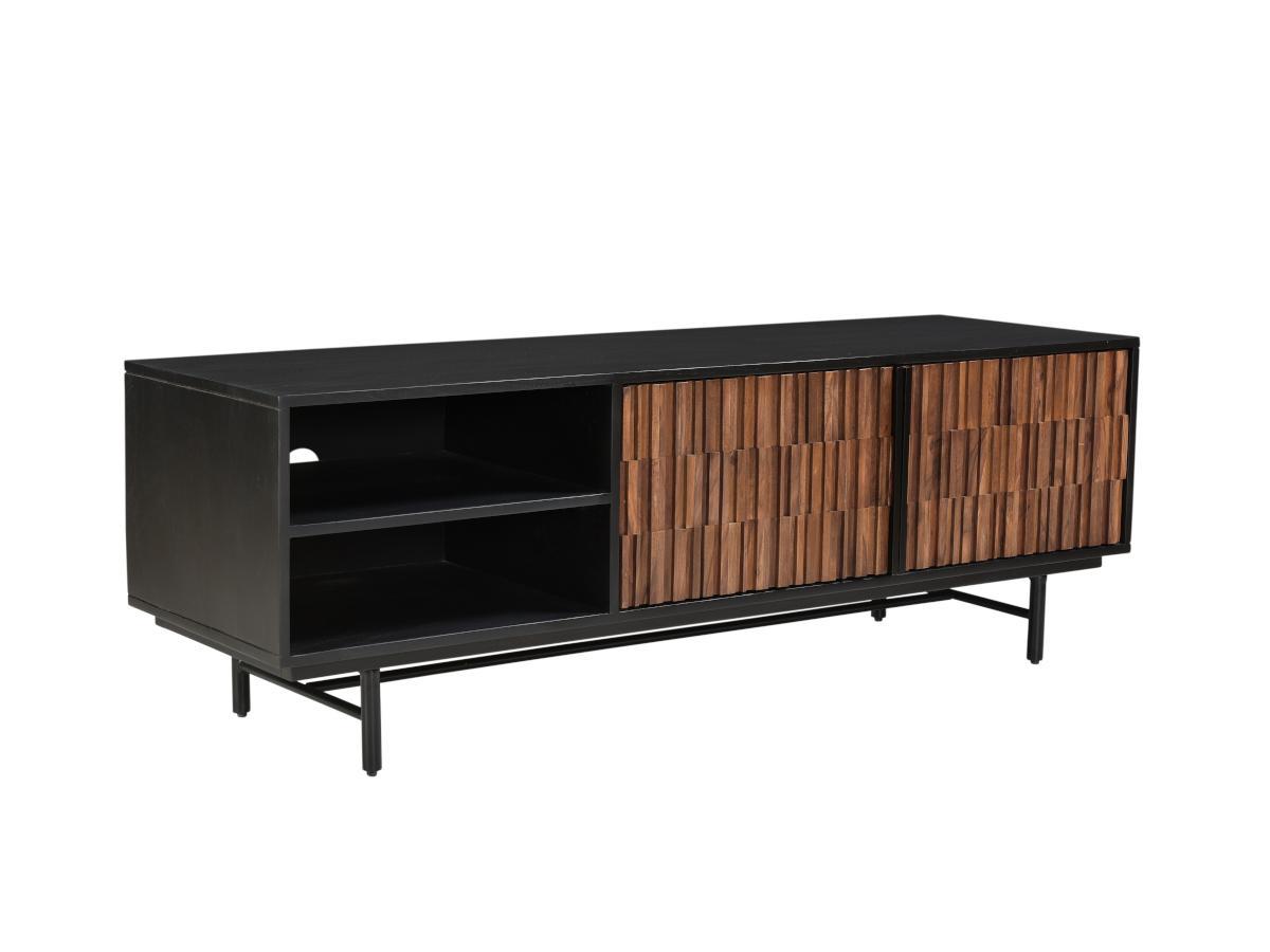 TV-Möbel ATILA - 2 Türen & 2 Ablagen - Sheeshamholz, Akazie & Metall