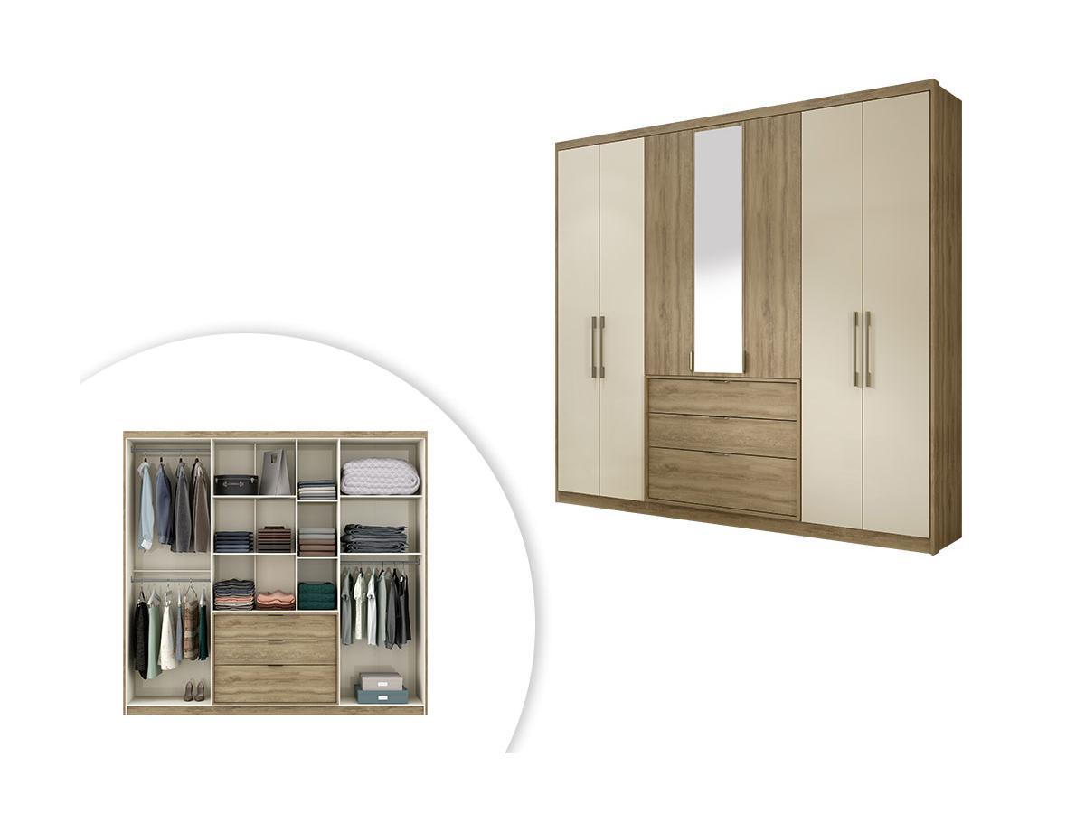 Kleiderschrank mit Spiegel SELMA - 7 Türen & 3 Schubladen - Eichenholzfarben/Elfenbeinfarben