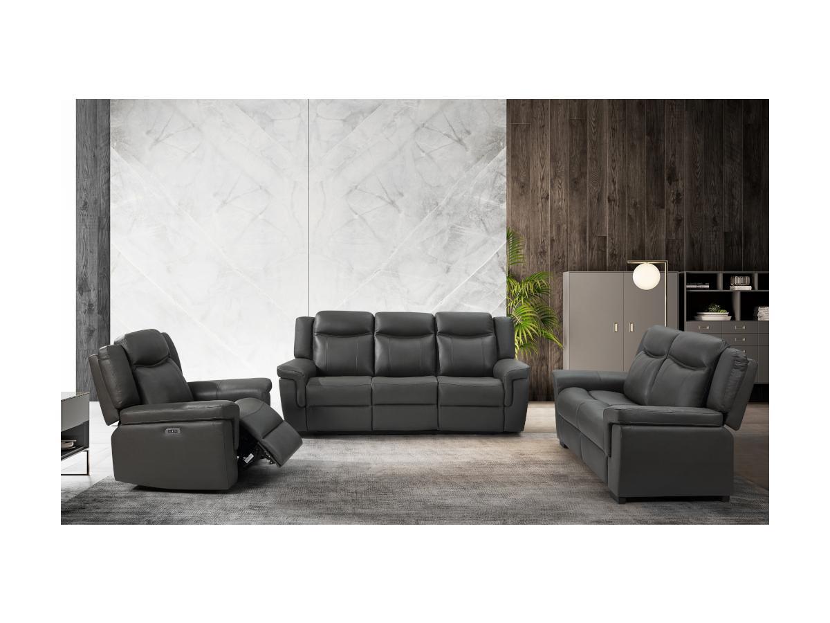 Relaxsofa elektrisch 3-Sitzer KENNETH - Leder - Taupe