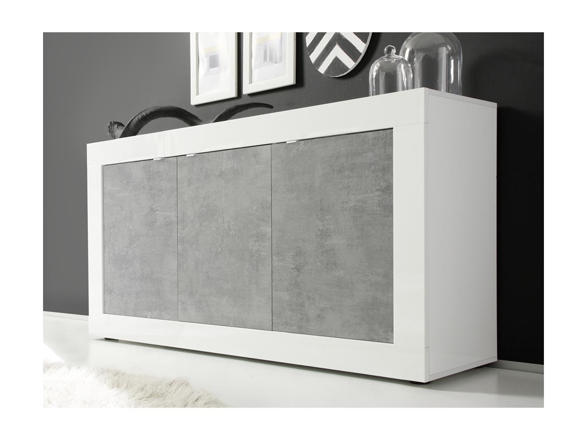 Sideboard COMETE - Weiß lackiert & Betonfarben