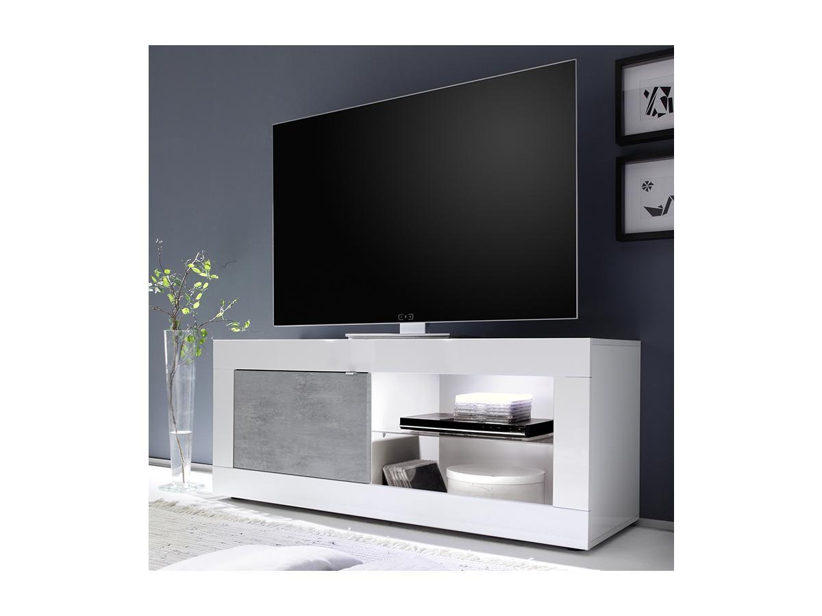 TV-Möbel mit LED-Beleuchtung COMETE - Weiß lackiert & Betonfarben