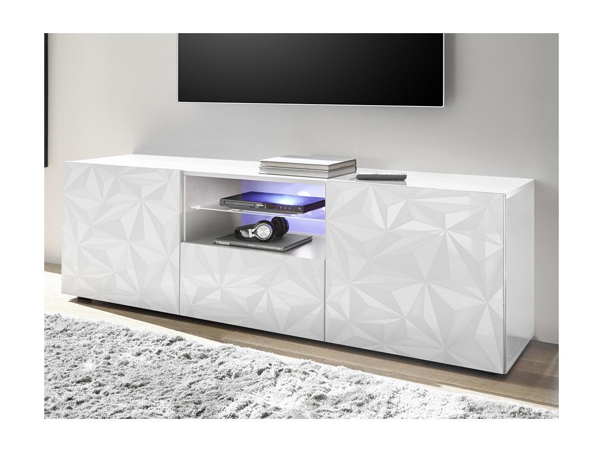 TV-Möbel mit LED-Beleuchtung ERIS - Weiß lackiert