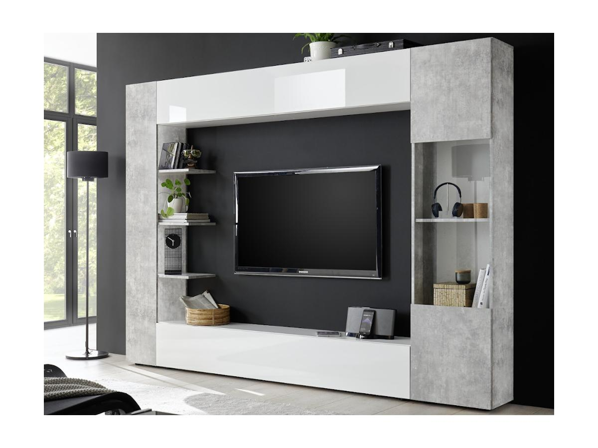 TV-Möbel TV-Wand SIRIUS - Weiß & Betonfarben