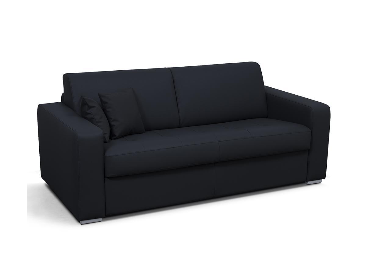 Schlafsofa 3-Sitzer EMIR II - Kunstleder - Schwarz - Liegefläche: 140 cm - Matratzenhöhe: 14 cm
