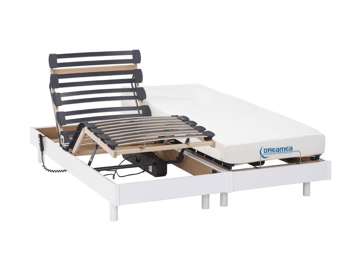Matratzen elektrischer Lattenrost 2er-Set Memory Schaum HERACLES - Weiß - 2x90x200 cm