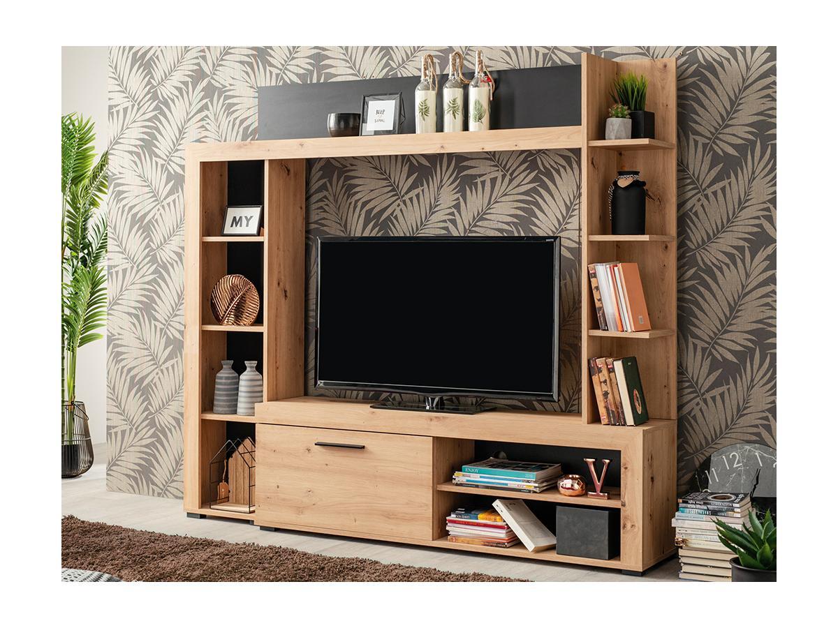TV-Wand mit Stauraum BALTIMORE - Eichenholzfarben & Anthrazit