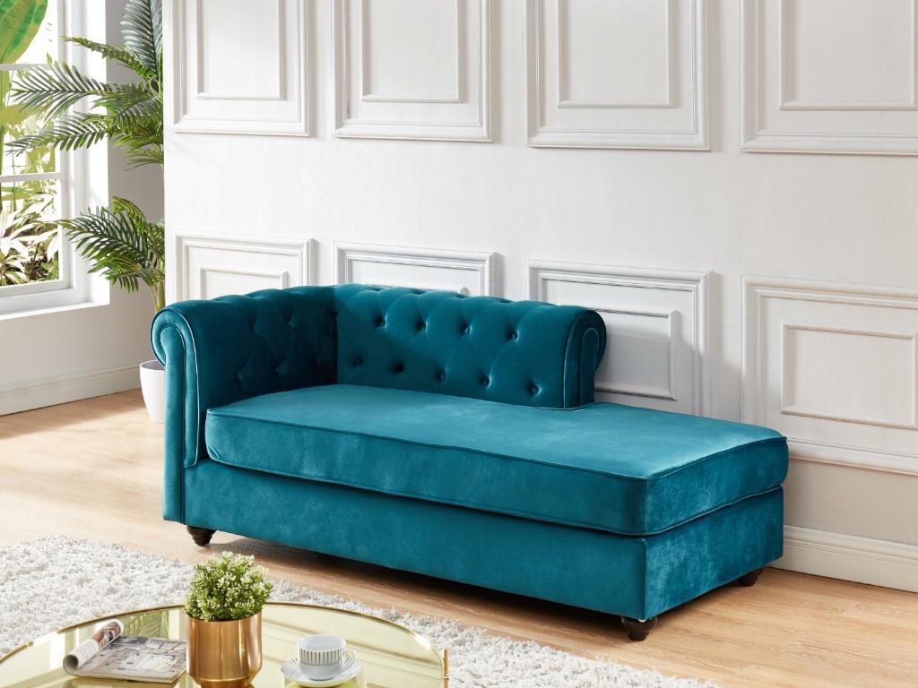 Kauf-Unique Chesterfield Recamiere Links SHIREL - Samt - Blau 667207