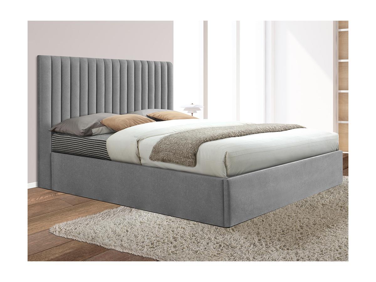 Bett mit Bettkasten und Kopfteil SARAH - Stoff - Grau - 160x200cm