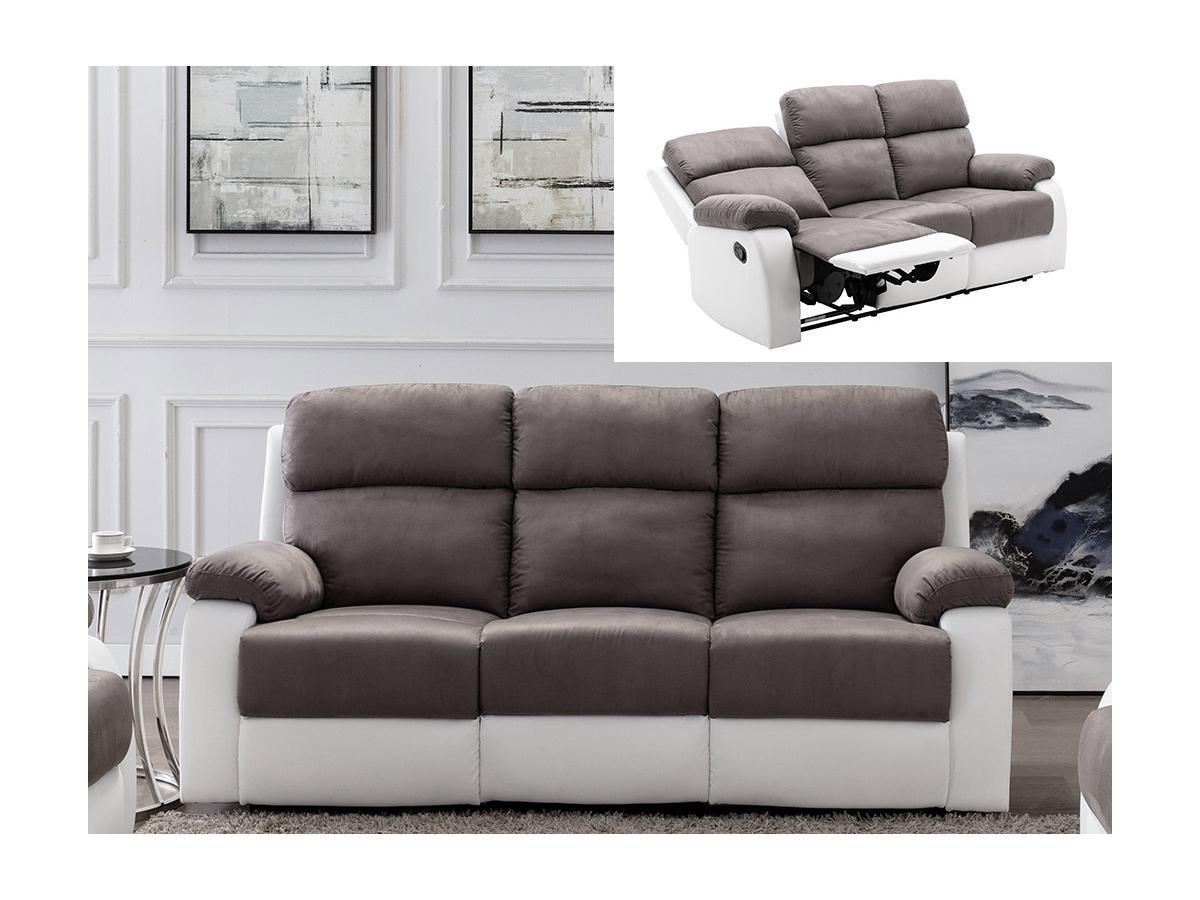 Relaxsofa 3-Sitzer TOLZANO - Microfaser & Kunstleder - Grau & Weiß