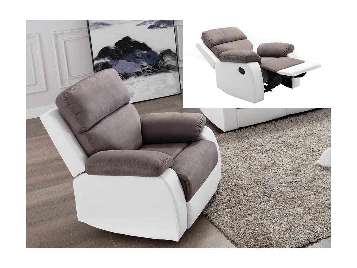 Relaxsessel Fernsehsessel TOLZANO - Microfaser & Kunstleder - Grau & Weiß