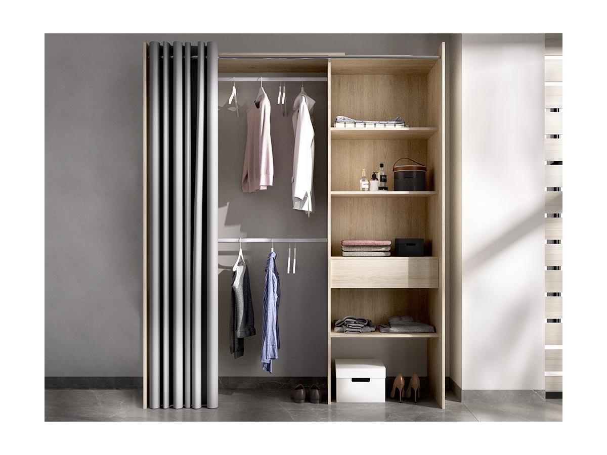 Kleiderschrank Kleiderschranksystem LAURENT - B. 110/160 cm - Eiche & Grau