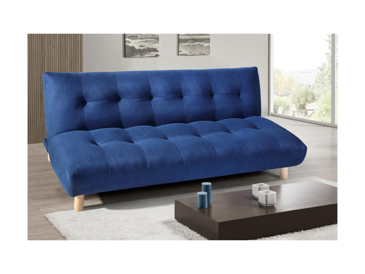 Schlafsofa Klappsofa 3-Sitzer VINCENT II - Stoff - Blau
