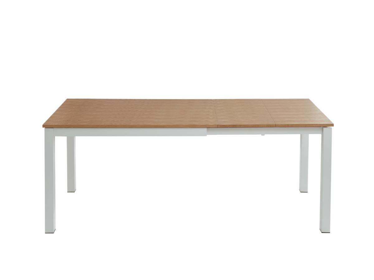 Esstisch ausziehbar KANTARA - Holz & Metall - Eiche & Weiß