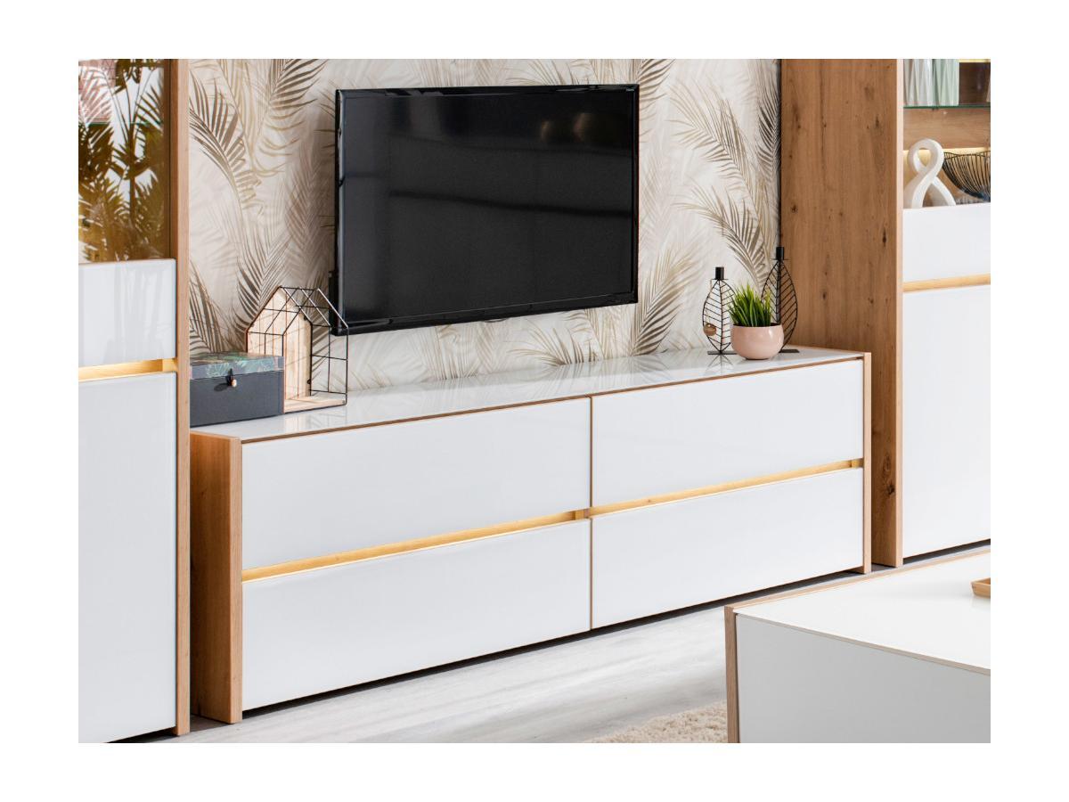 TV-Möbel mit LED-Beleuchtung KASTIL - Eiche & Weiß