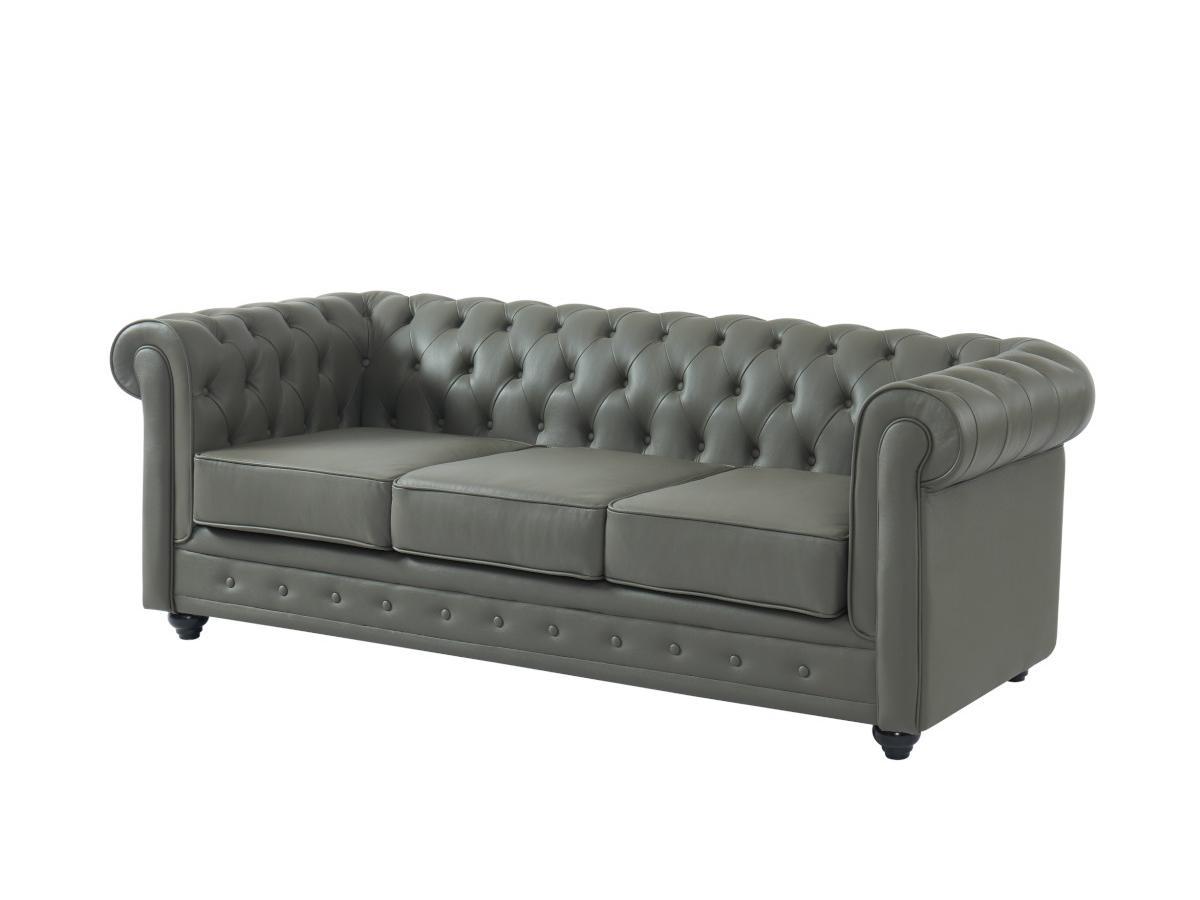 Kauf-Unique Ledersofa 3-Sitzer CHESTERFIELD - Büffelleder - Grau 679189