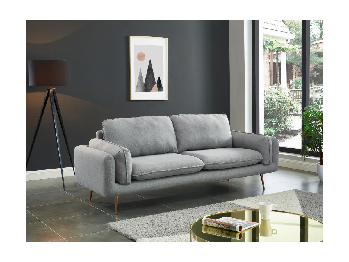 3-Sitzer-Sofa JAÏNA - Stoff - Grau