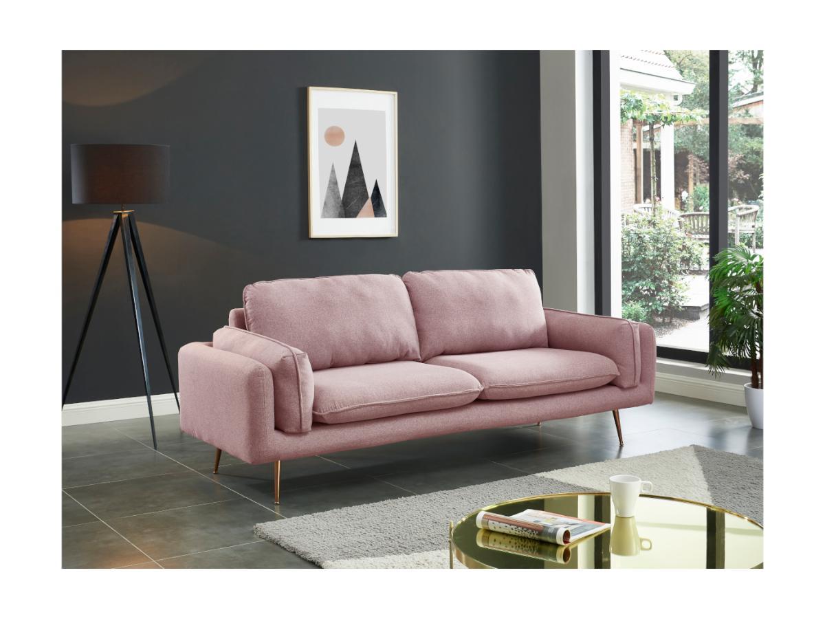 3-Sitzer-Sofa JAÏNA - Stoff - Rosa