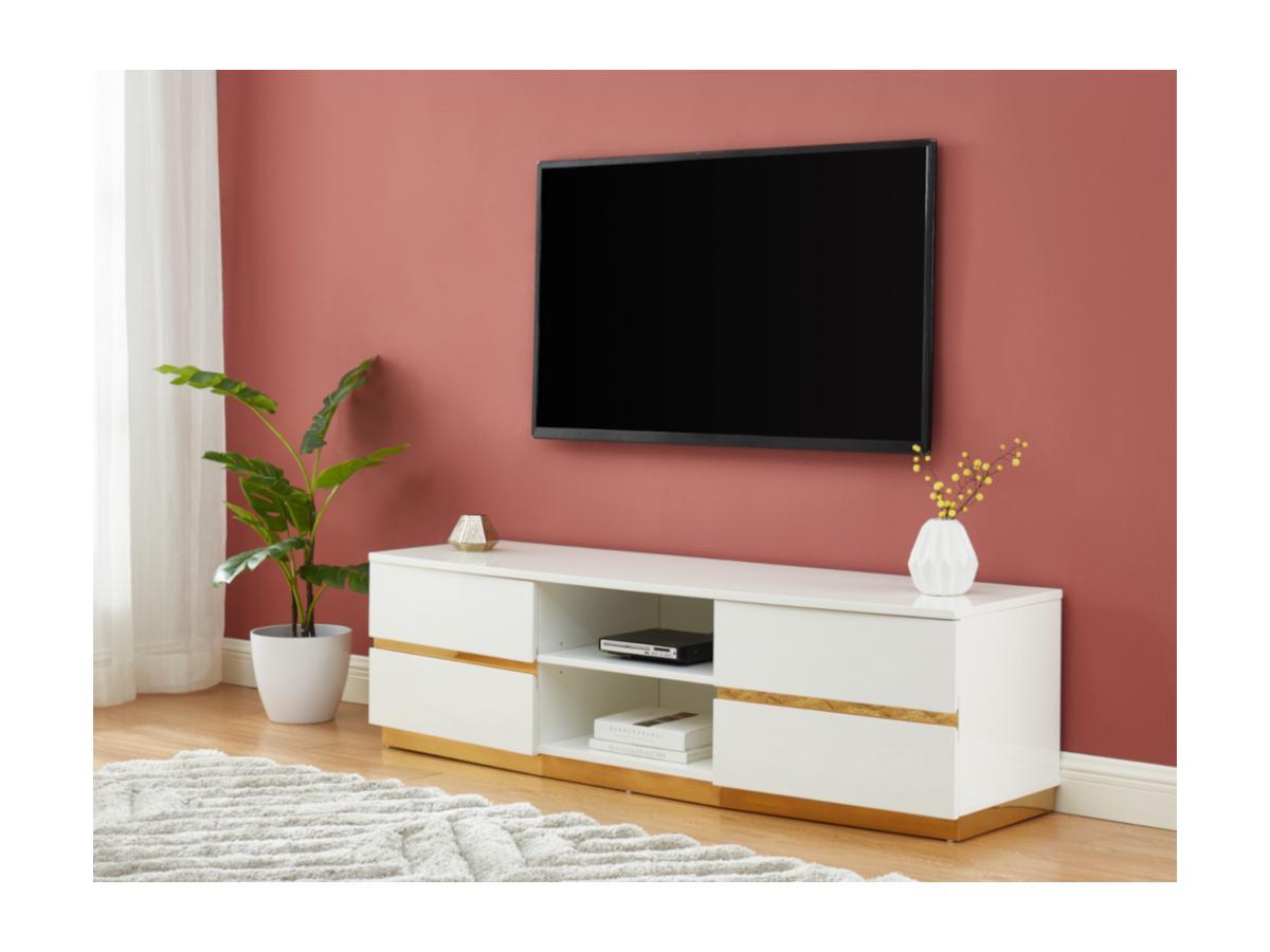 TV-Möbel FERIHANE - 2 Türen & 2 Ablagen - Weiß