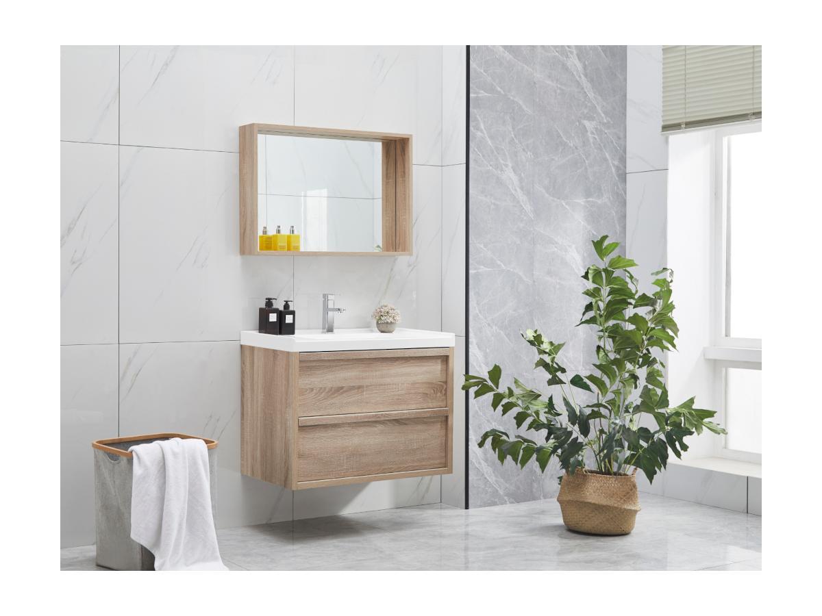 Komplettbad mit Einzelwaschbecken & Spiegel QUADRA - Holz-Optik - B. 80 cm