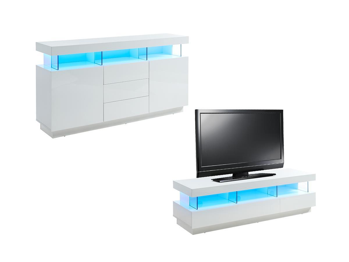 Sparset FABIO: Sideboard + TV-Möbel - Weiß