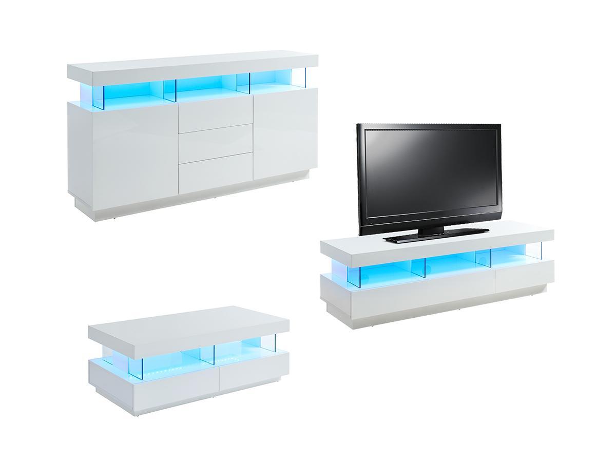 Sparset FABIO: Sideboard + TV-Möbel + Couchtisch - Weiß