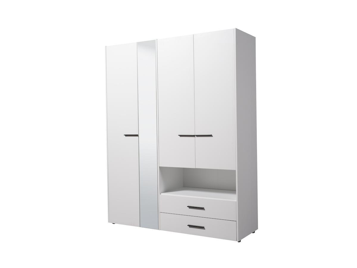 Kleiderschrank mit Spiegel THELMA - 3 Türen & 2 Schubladen - Breite: 161 cm - Weiß