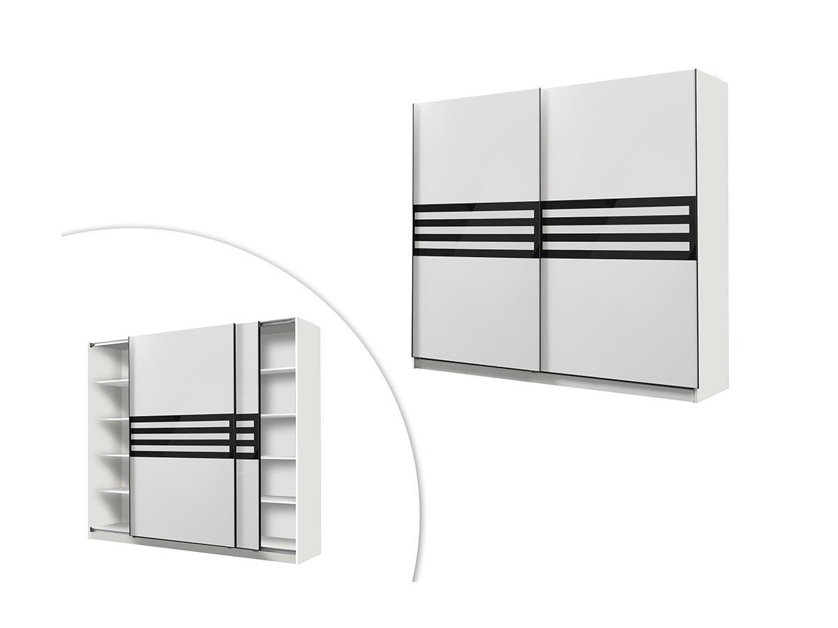 Kleiderschrank MATHEO - 2 Schiebetüren - Breite: 217 cm - Weiß & Schwarz