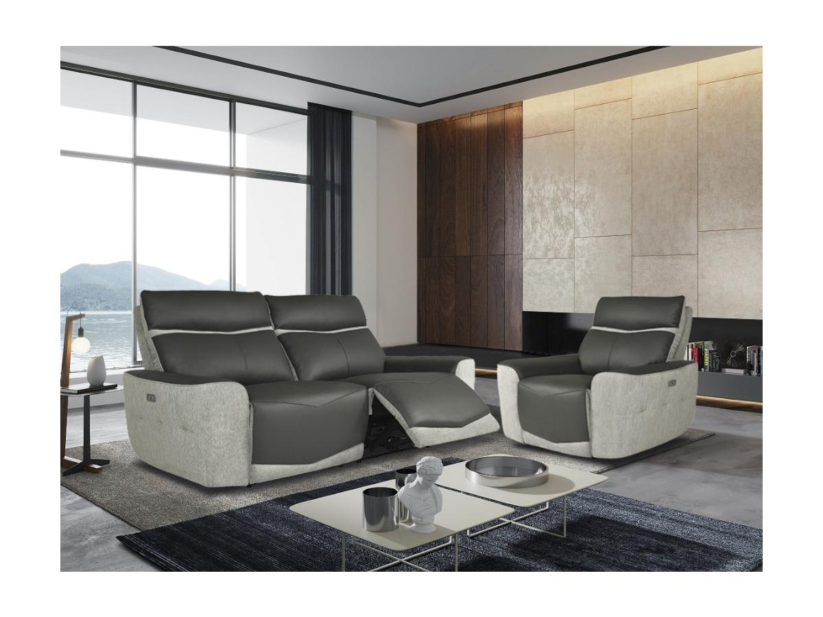 Relaxsofa elektrisch 3-Sitzer POLYEN - Leder & Stoff - Grau & Anthrazit