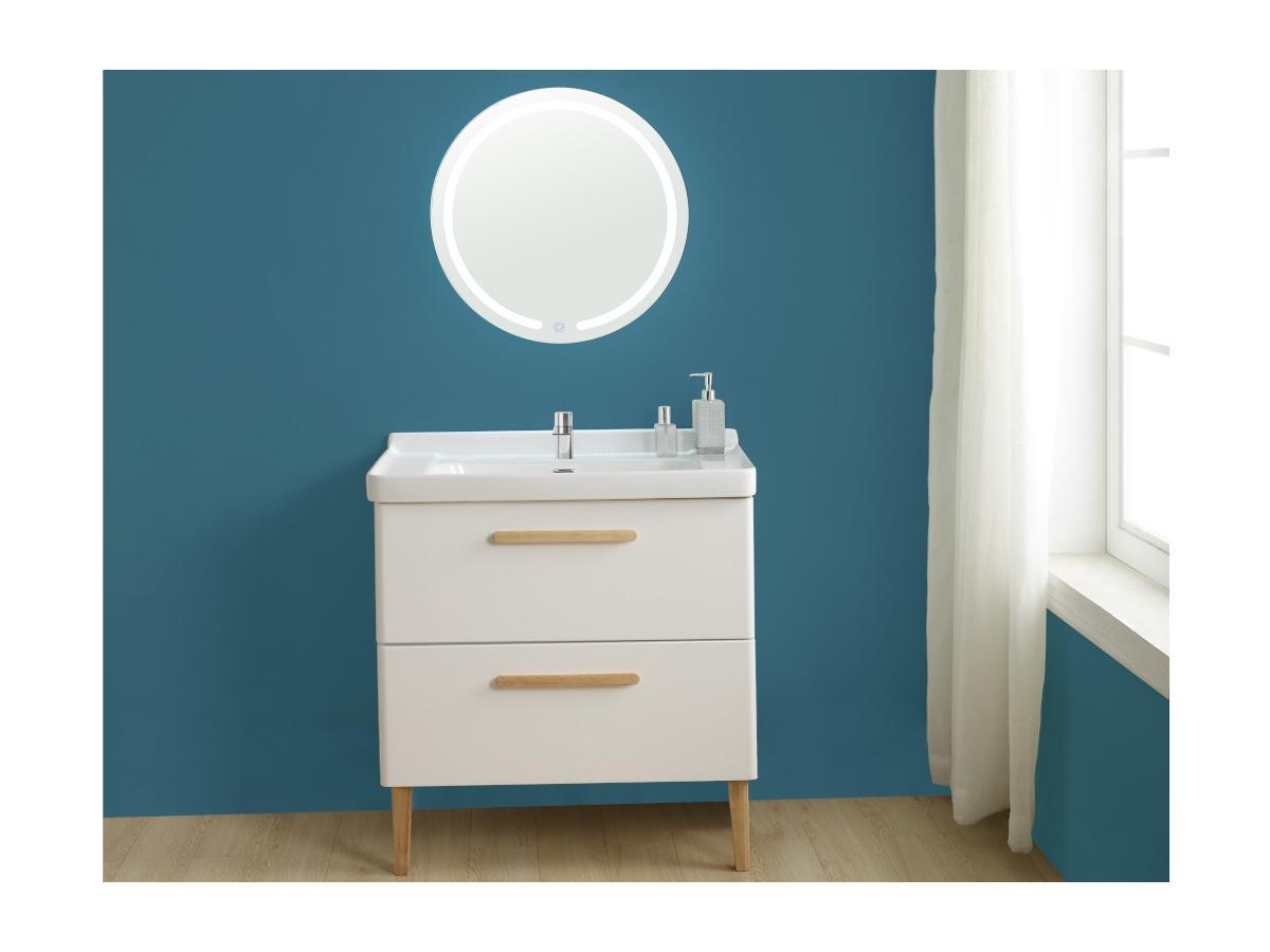 Komplettbad VATINE - Unterschrank + Waschbecken - Weiß