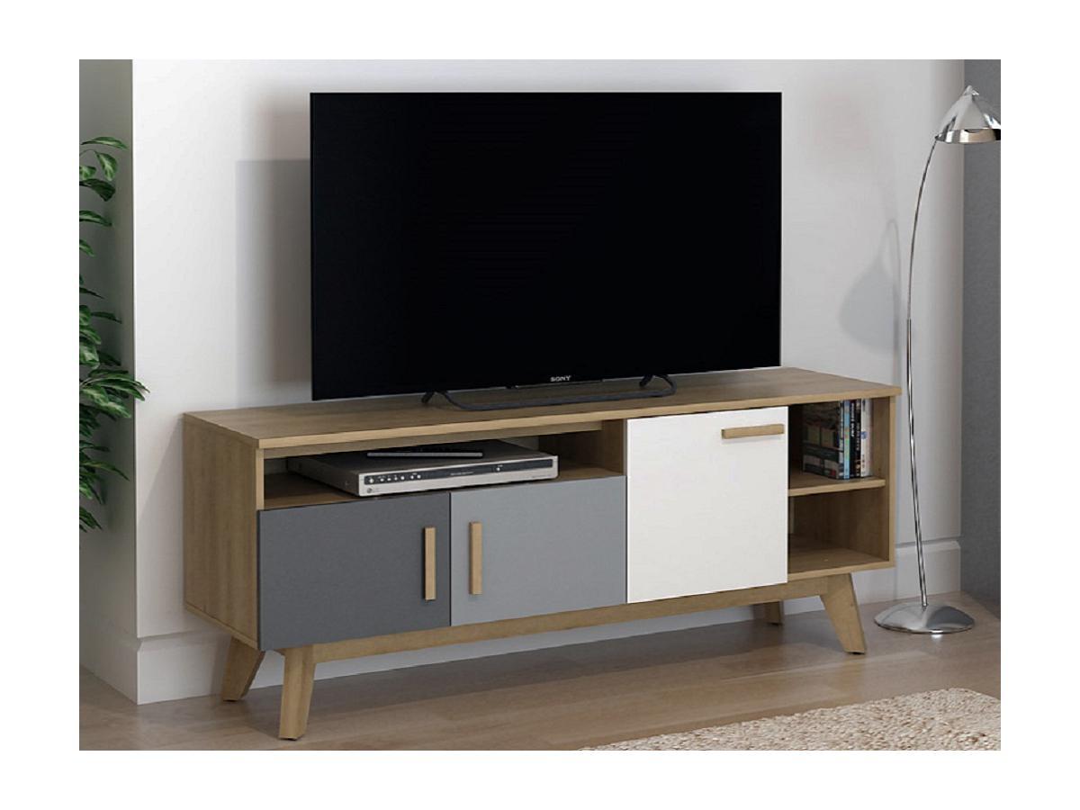 TV-Möbel AURORA - 3 Türen & 3 Ablagen - Mehrfarbig