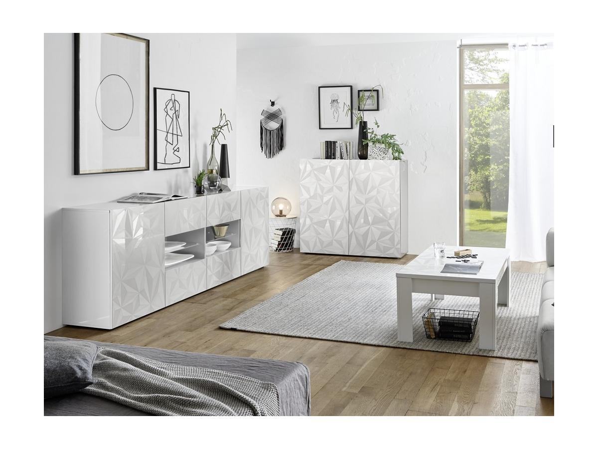Sideboard ERIS - 2 Türen & 4 Schubladen - Weiß lackiert