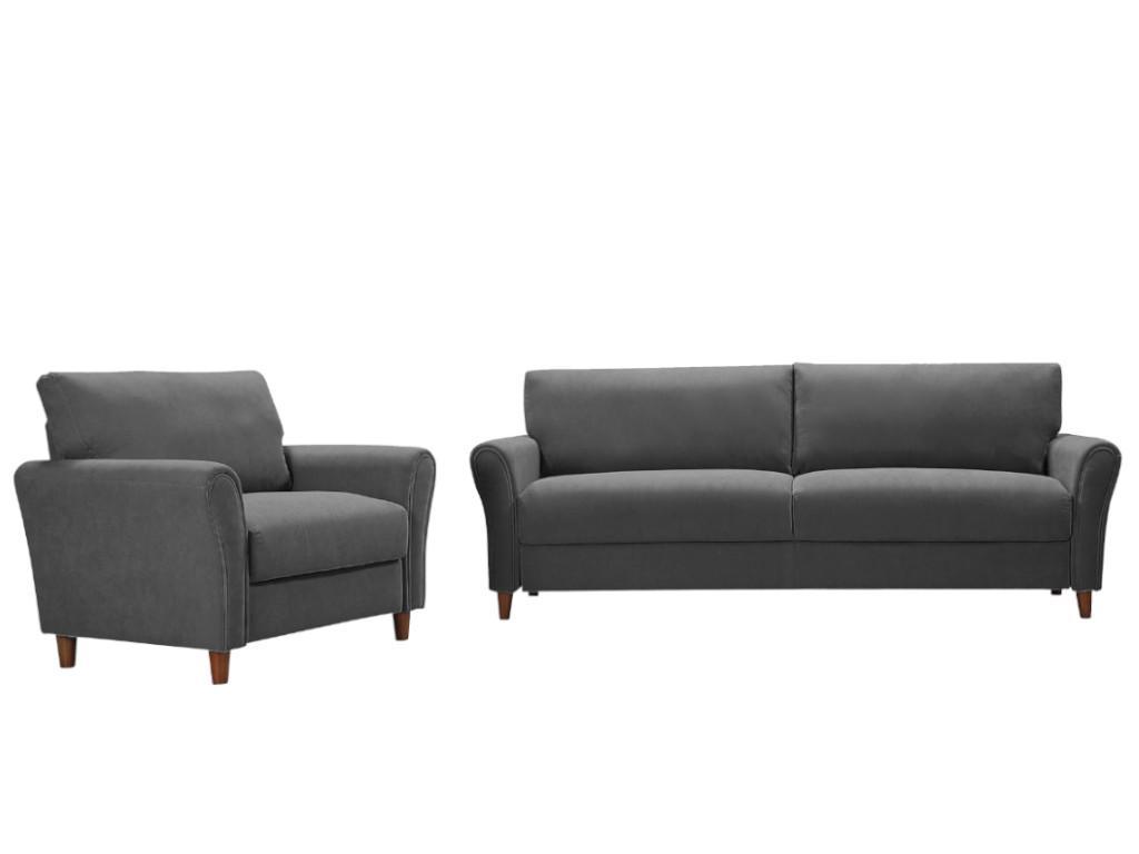Kauf-Unique Couchgarnitur 3+1 ELALY - Stoff - Grau 654461