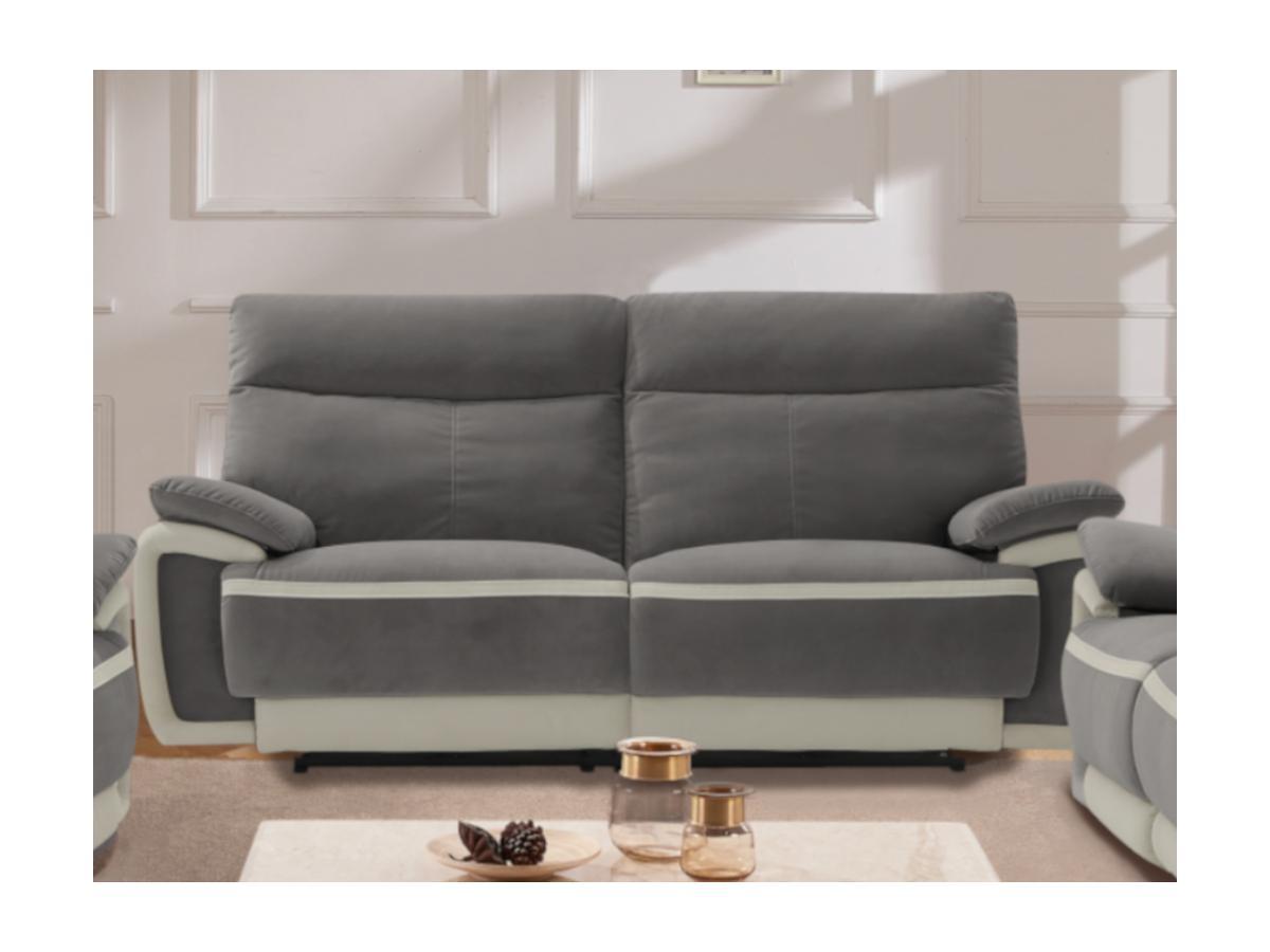 Relaxsofa elektrisch 3-Sitzer METTI - Samt - Grau