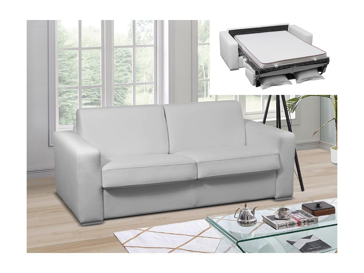 Schlafsofa mit Matratze 3-Sitzer DELECTEA II - 100% Büffelleder - Weiß