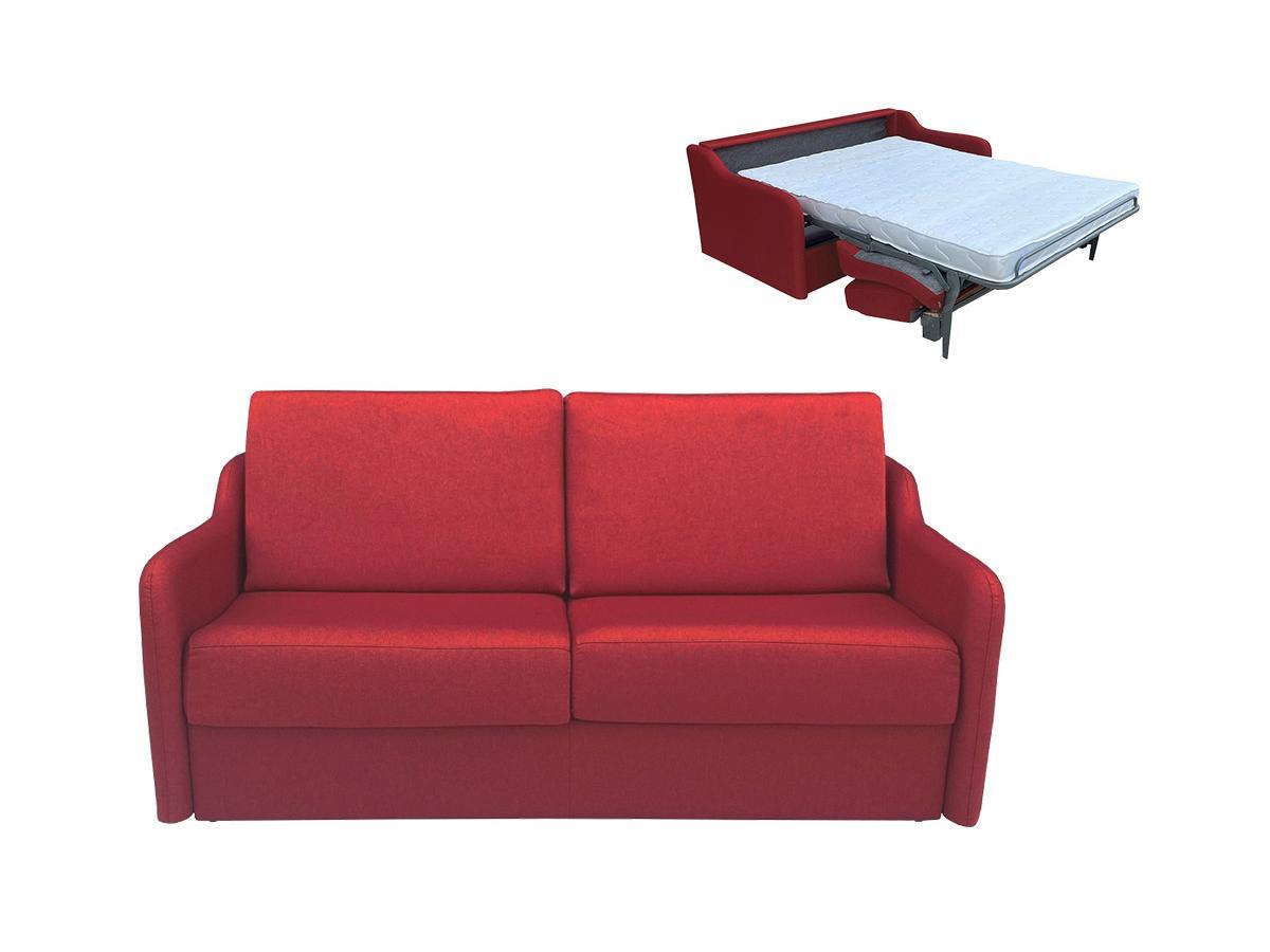 Schlafsofa mit Matratze 3-Sitzer COTIO - Stoff - Rot
