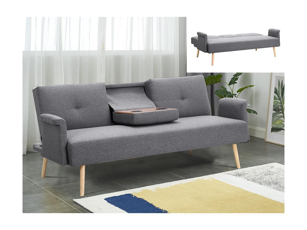 Schlafsofa Klappsofa 3-Sitzer mit Tisch KEISSY - Stoff - Grau