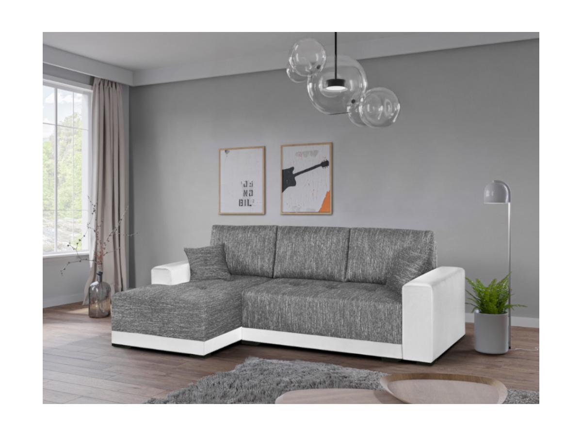 Ecksofa mit Schlaffunktion JARED II - Stoff & Kunstleder - Weiß & Grau meliert - Ecke links