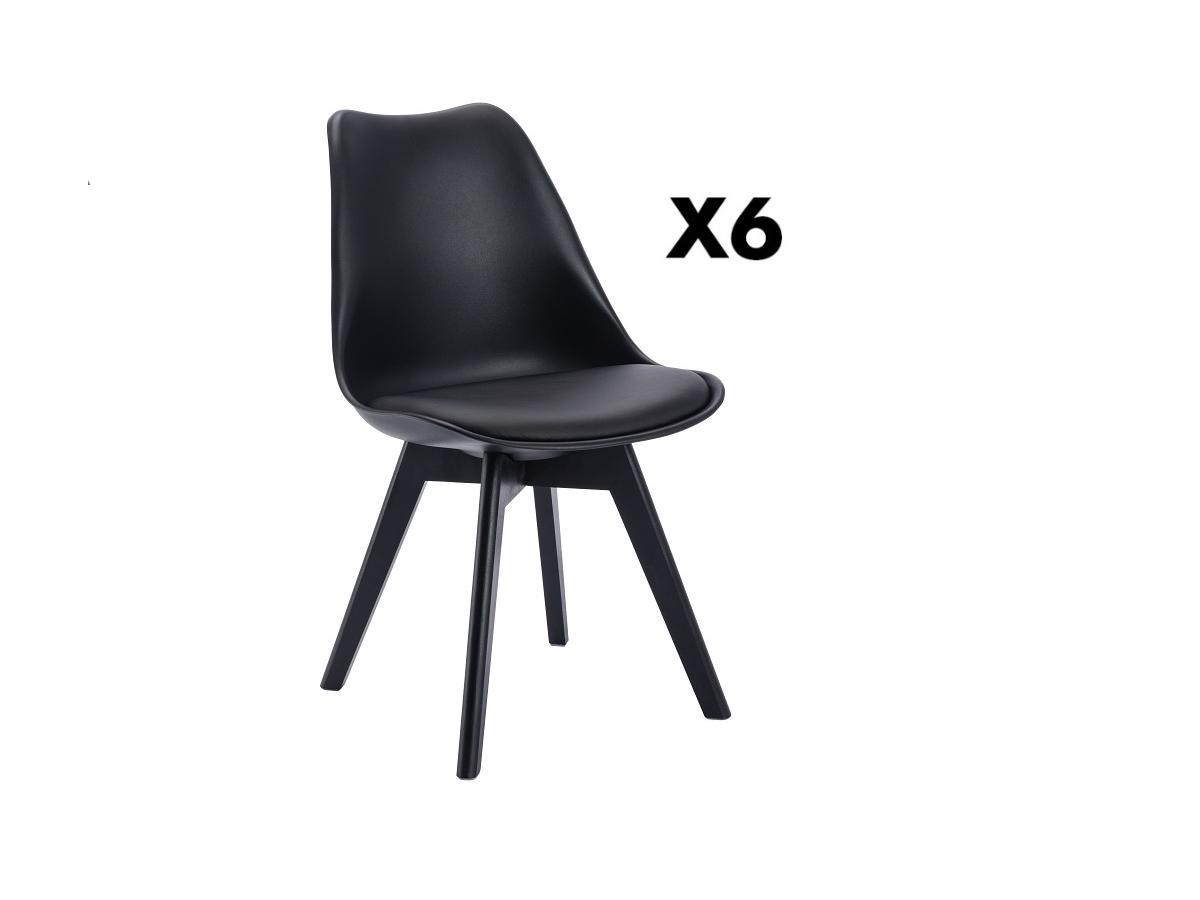 Kauf-Unique Stuhl 6er-Set JODY - Polypropylen - Schwarz mit schwarzen Füßen 713907