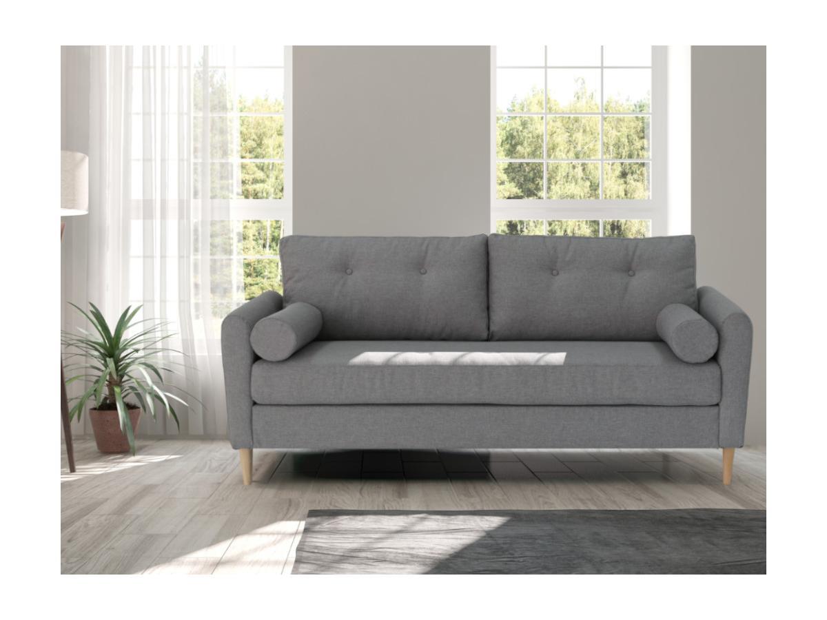 3-Sitzer-Sofa FLEN - Stoff - Hellgrau