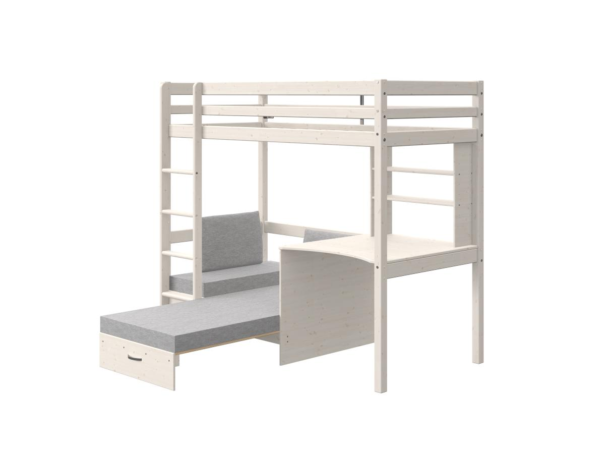Hochbett mit Schreibtisch, Schlafsofa & Stauraum GOLIATH II - 90 x 200 cm - Kiefer massiv - Geweißt