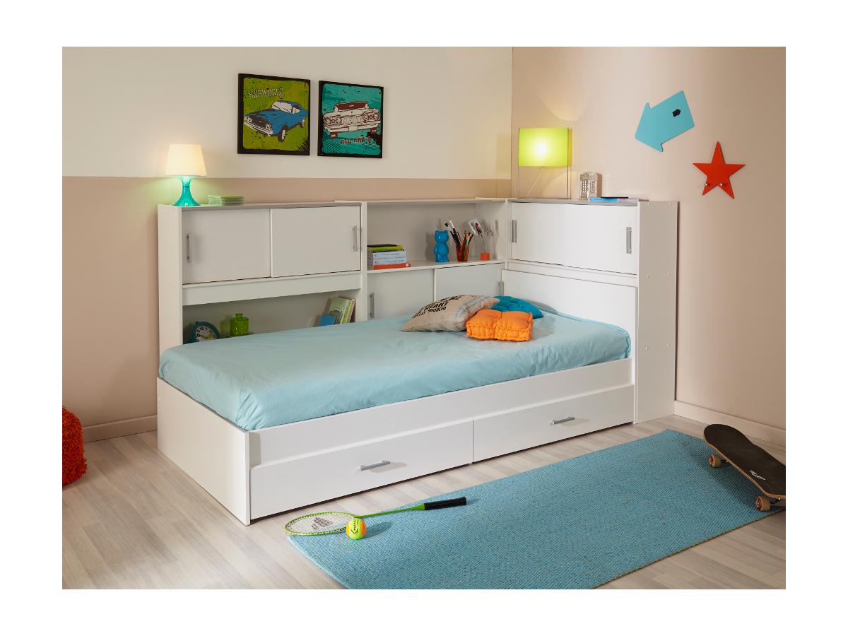 PARISOT Kinderbett mit Regal SNOOP + Matratze 90 x 190 cm