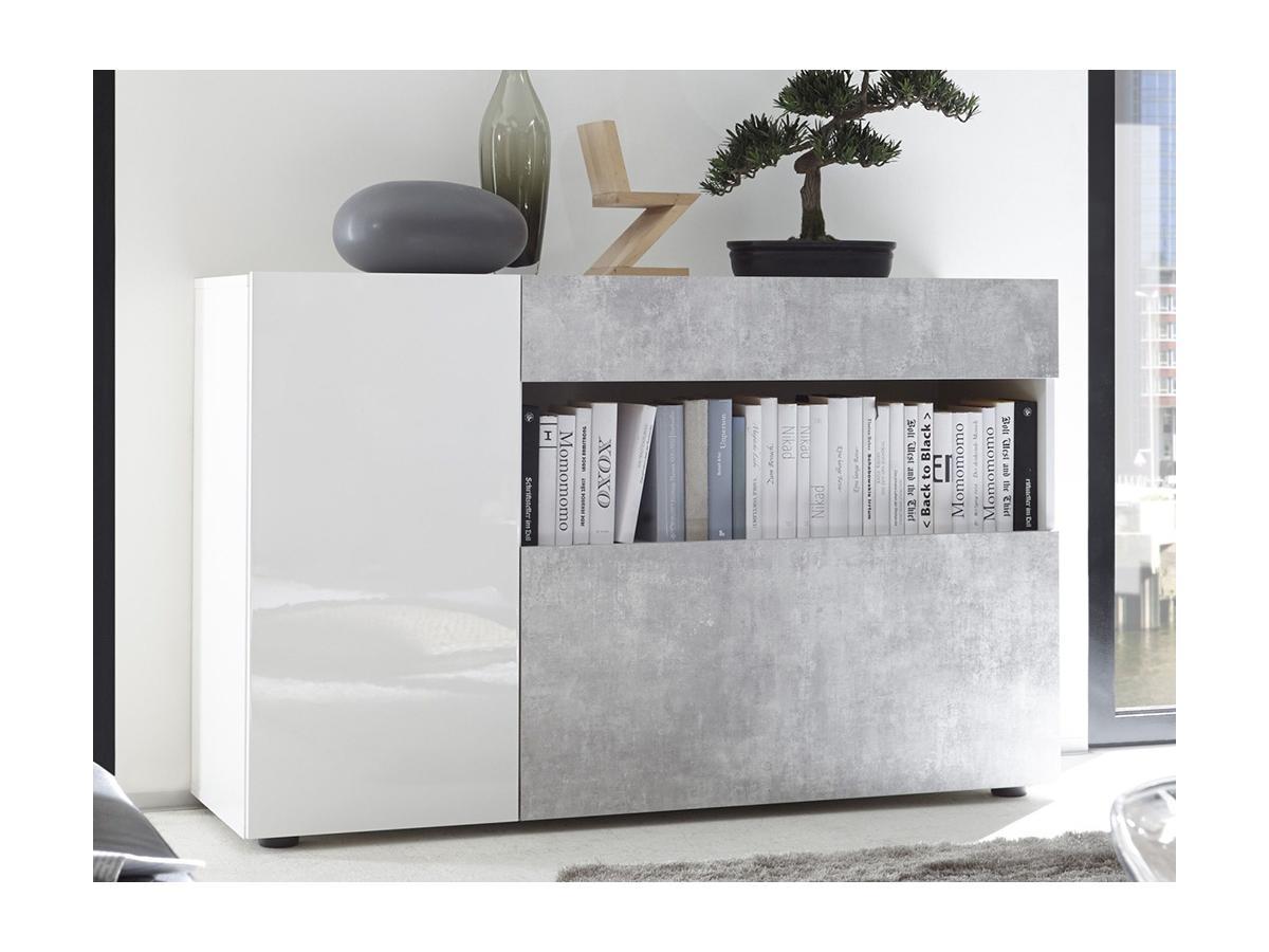 Sideboard ALTAÏR - Weiß lackiert & Beton-Optik