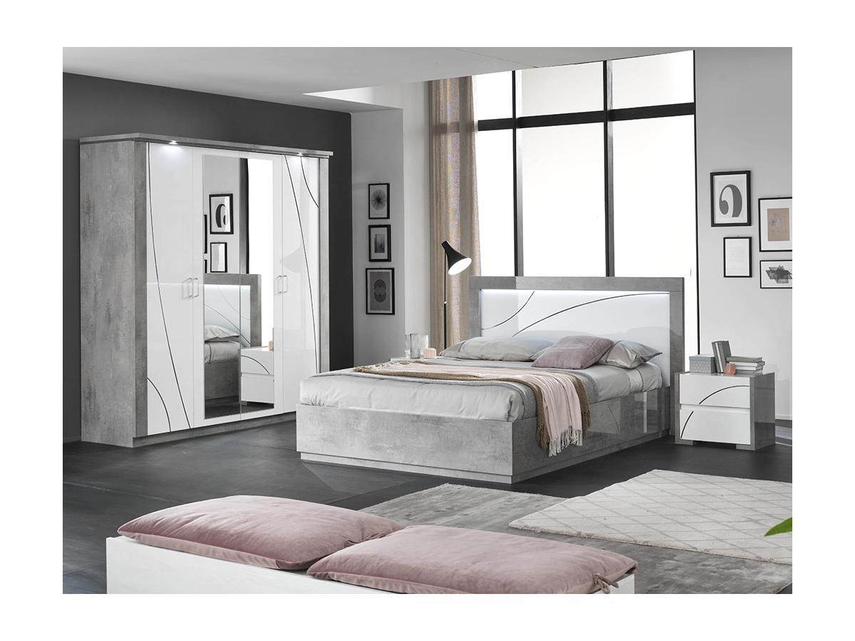 Nachttisch URAM - 2 Schubladen - Weiß & Beton-Optik