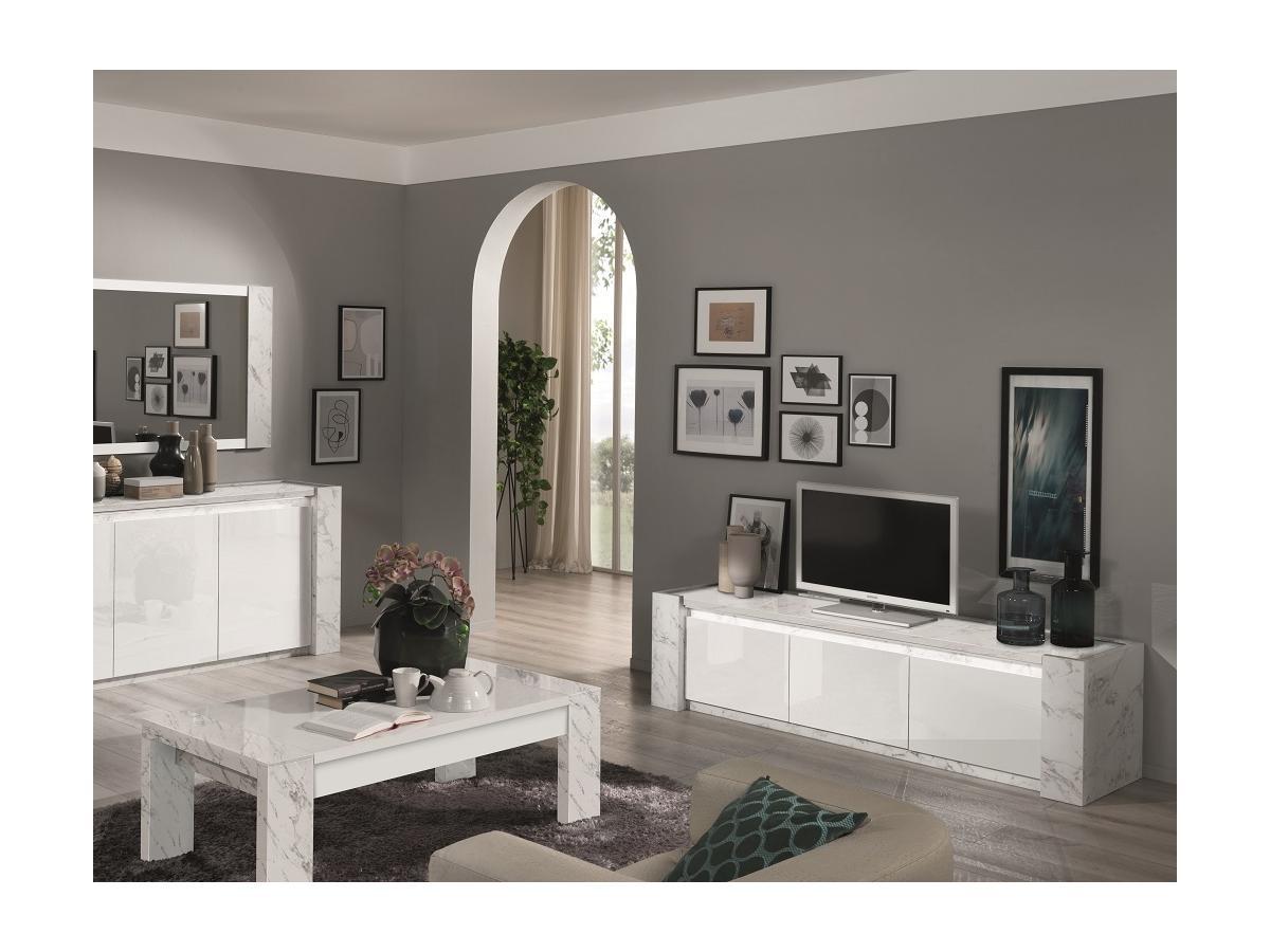 TV-Möbel mit LED-Beleuchtung SABAN - 3 Türen - Weiß & Marmor-Optik