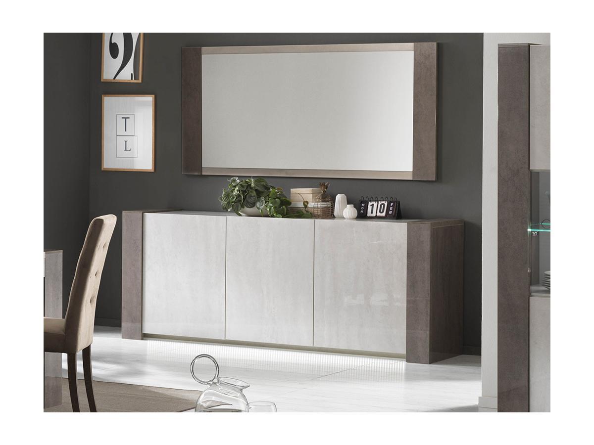 Sideboard mit LED-Beleuchtung ZEKIO - 3 Türen - Weiß & Beton-Optik