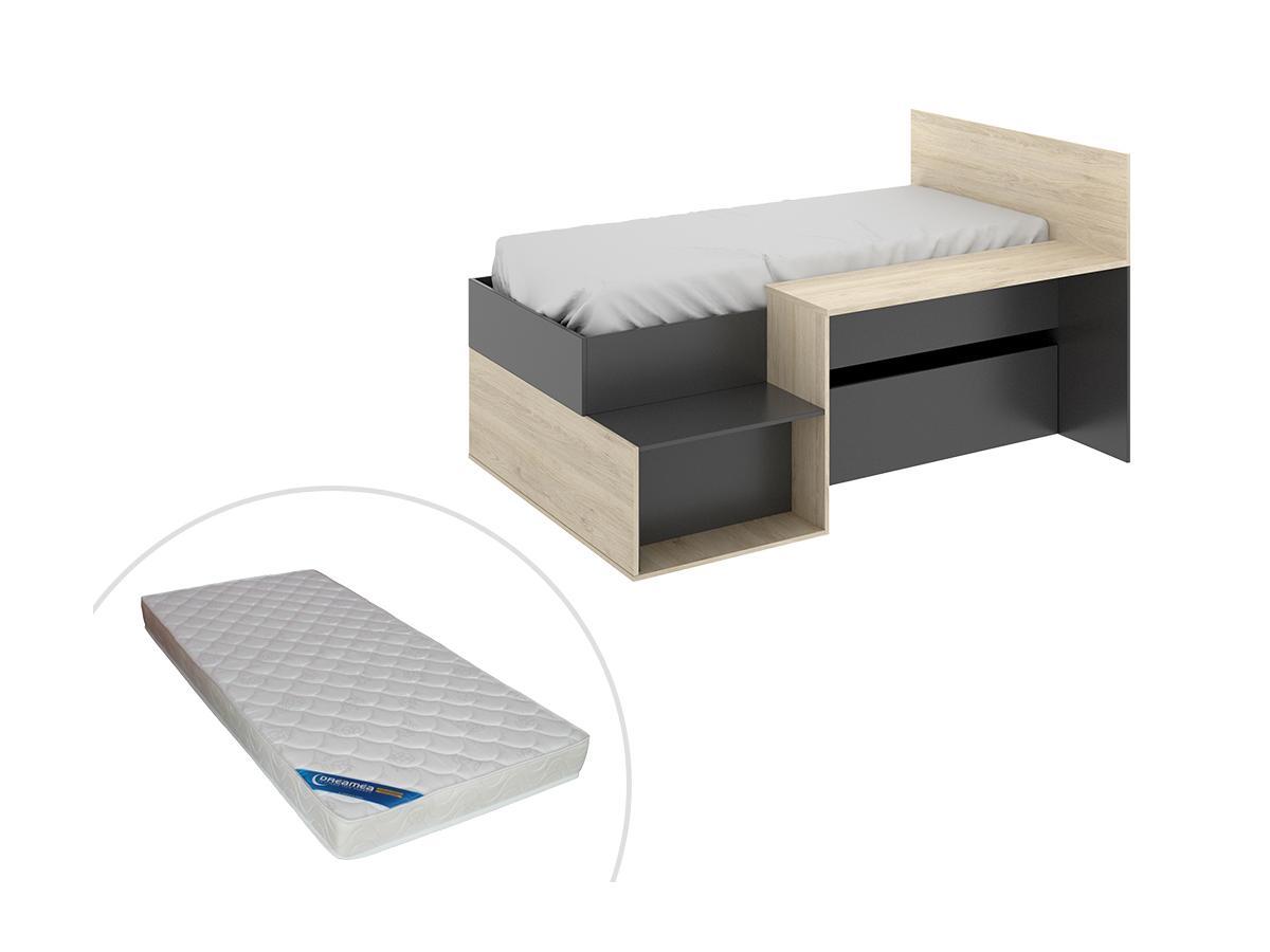 Bett mit Stauraum, Schreibtisch & Matratze LISON - 90 x 190 cm - Anthrazit & Eichenholzfarben