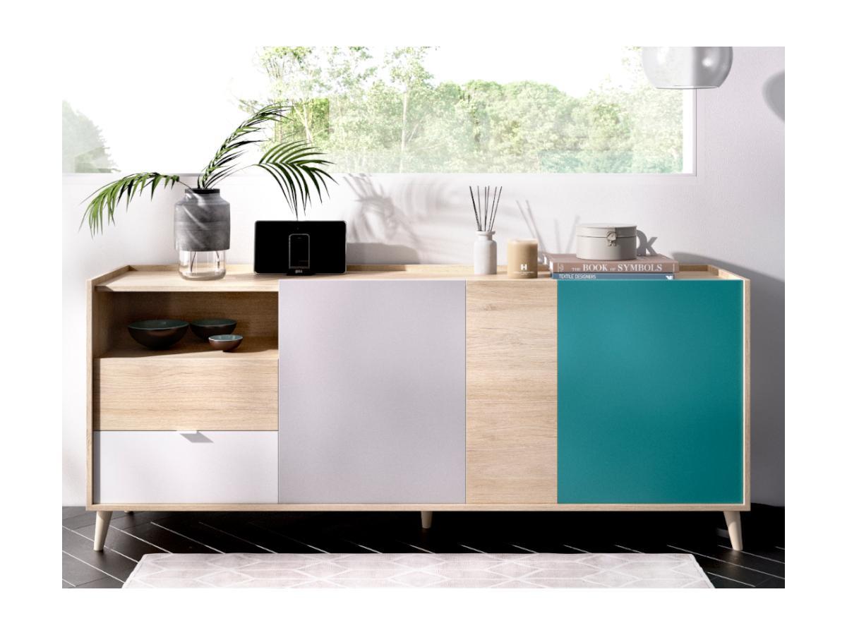 Sideboard BICA - 3 Türen & 2 Schubladen - Mehrfarbig