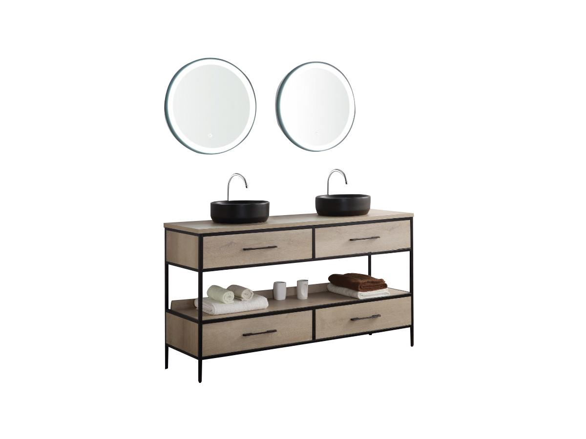 Komplettbad PLUNA - Unterschrank, Doppelwaschbecken + Spiegel - Holz-Optik